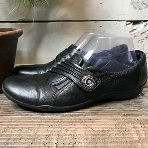 Clarks Artisan Black Ruched Strap Casual Loafers